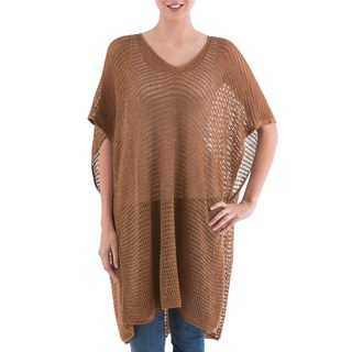 Handmade Acrylic Alpaca Blend 'Copper Dreamcatcher' Tunic (Peru)