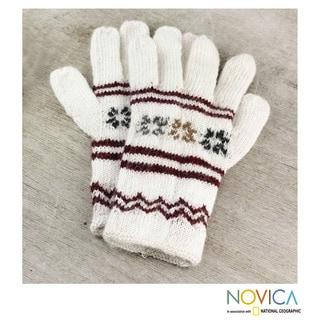 Handmade Alpaca 'White Clouds' Gloves (Peru)