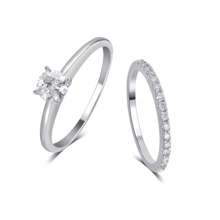 Divina 14K White Gold 1 1/4ct TDW IGL Certified Diamond Bridal Set comes in box.(I-J,I2).