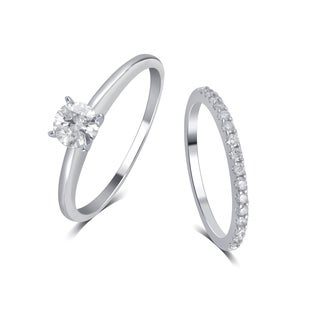 Divina 14K White Gold 1 1/4ct TDW Diamond Bridal Set comes in box..