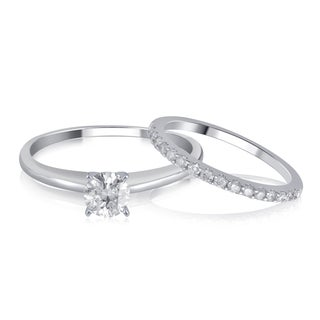 Divina 14K White Gold 1.00ct TDW IGL Certified Diamond Bridal Set comes in box.(I-J,I2).