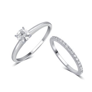 Divina 14K White Gold 3/4ct TDW IGL Certified Diamond Bridal Set comes in box.(I-J,I2).