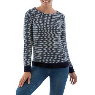 Handmade Alpaca 'Blue Order' Pullover Sweater (Peru)