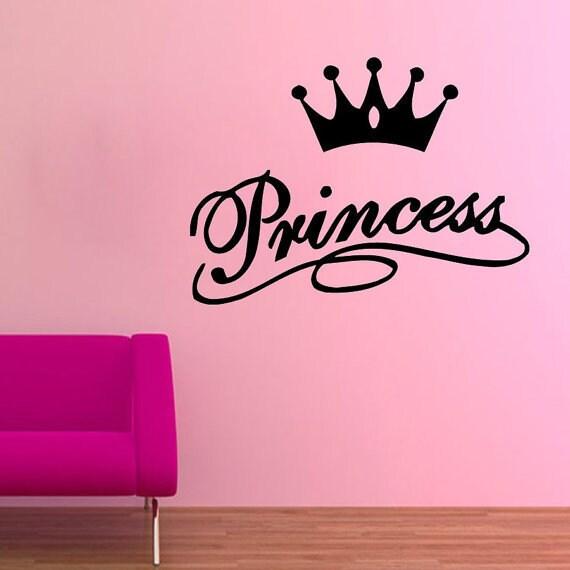 Princess Lettering Crown Vinyl Sticker Home Interior Art Mural Nursery Room Decal Size