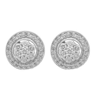 Elora 14k White Gold 3/8ct TDW Diamond Ladies Halo Style Stud Earrings With Removable Jackets