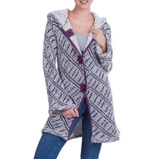 Handmade Alpaca Blend 'Ups and Downs' Hooded Sweater Coat (Peru)