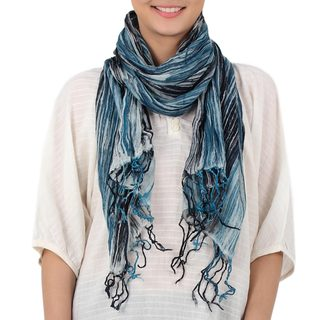 Handmade Cotton 'Speckled Field in Azure' Batik Tie-dyed Scarf (Thailand)