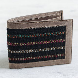 Handmade Men's Leather Wool Accent 'Fiesta Night' Wallet (Peru)
