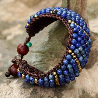 Handmade Brass 'Thai Smile' Lapis Lazuli Bracelet (Thailand)