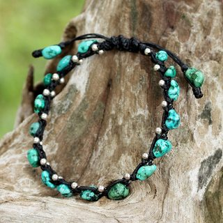 Handmade Sterling Silver 'Turquoise Bohemian' Turquoise Bracelet (Thailand)