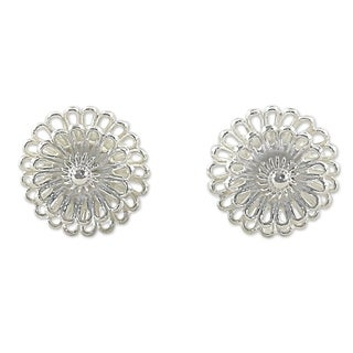 Handcrafted Sterling Silver 'Zinnia Flowers' Earrings (Thailand)