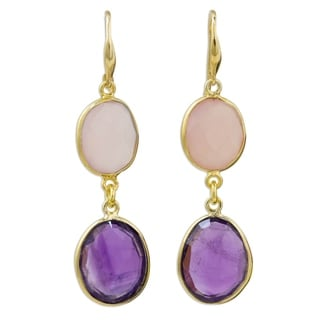 Handcrafted Gold Overlay 'Lavender Kiss' Amethyst Rose Quartz Earrings (Thailand)