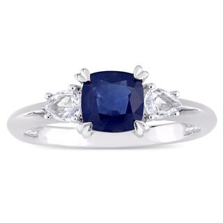 Miadora Signature Collection 14k White Gold Cushion-Cut Blue Sapphire and Pear-Cut White Sapphire Three-Stone Engagement Ring