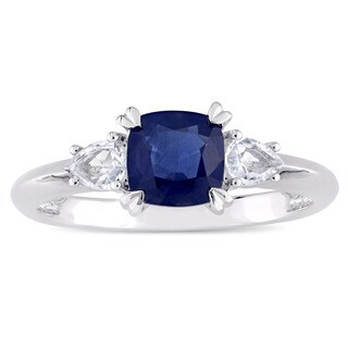 Miadora Signature Collection 14k White Gold Cushion-Cut Blue Sapphire and Pear-Cut White Sapphire 3-Stone Engagement Ring