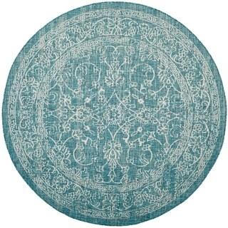 Safavieh Indoor/ Outdoor Courtyard Turquoise Rug (7' Round)