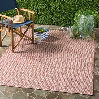 Safavieh Courtyard Contemporary Indoor / Outdoor Rust / Light Grey Rug (9' x 12')
