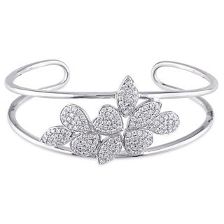 Miadora Signature Collection 14k White Gold 1 1/2ct TDW Diamond Leaf and Heart Cluster Open Bangle