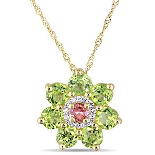 Laura Ashley Peridot Pink Sapphire and Diamond Accent Flower Necklace in 14k Yellow Gold (G-H,I1-I2)