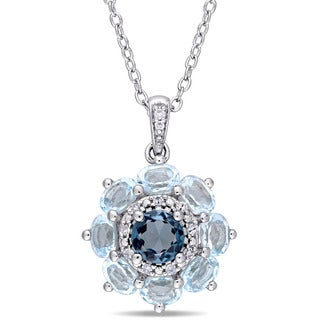 Laura Ashley London and Sky Blue Topaz with Diamond Accents Flower Necklace in Sterling Silver (G-H,I1-I2)