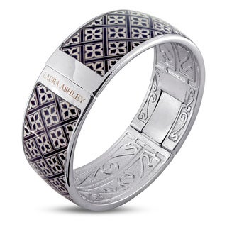 Laura Ashley Rhodium Plated Black and White Checkered Floral Pattern Enamel Bangle (7.5 inches)