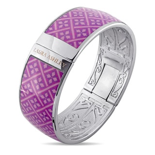 Laura Ashley Rhodium Plated Pink Checkered Floral Pattern Enamel Bangle (7.5 inches)