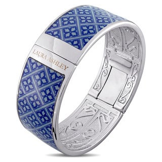 Laura Ashley Rhodium Plated Blue Checkered Floral Pattern Enamel Bangle (7.5 inches)
