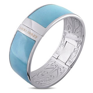 Laura Ashley Rhodium Plated Solid Light Blue Enamel Bangle (7.5 inches)