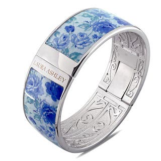 Laura Ashley Rhodium Plated Blue Floral Enamel Bangle (7.5 inches)|https://ak1.ostkcdn.com/images/products/14448613/P21012054.jpg?impolicy=medium