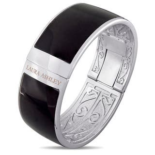 Laura Ashley Rhodium Plated Solid Black Enamel Bangle (7.5 inches)|https://ak1.ostkcdn.com/images/products/14448652/P21012055.jpg?impolicy=medium