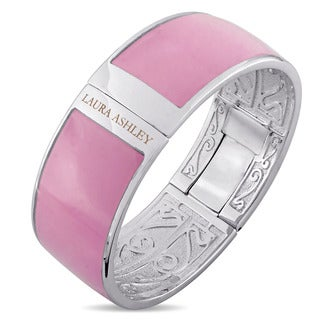 Laura Ashley Rhodium Plated Solid Light Pink Enamel Bangle (7.5 inches)