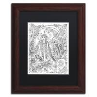 KCDoodleArt 'Flower Girls 20' Matted Framed Art - White/Black