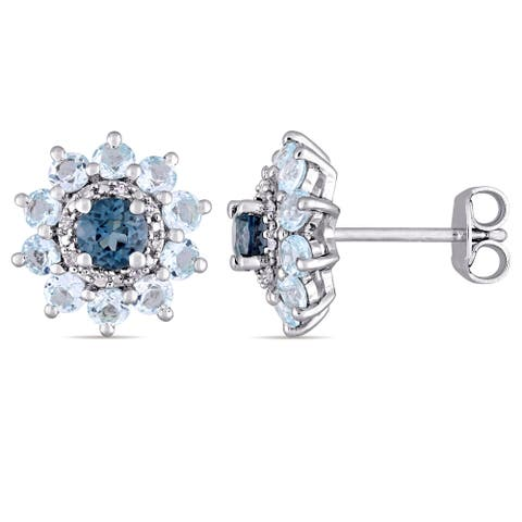 Laura Ashley London and Sky Blue Topaz with Diamond Accents Flower Stud Earrings in Sterling Silver (G-H,I1-I2)