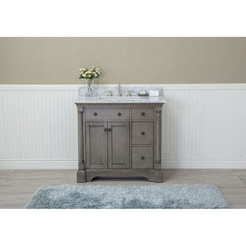 Stella 37-inch Double Bathroom Vanity Set, Antique Grey - Antique Bathroom Furniture Find Great Furniture Deals Shopping At