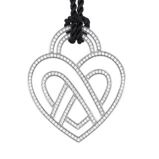 Poiray 18k White Gold Diamond Heart Pendant and Cord Necklace