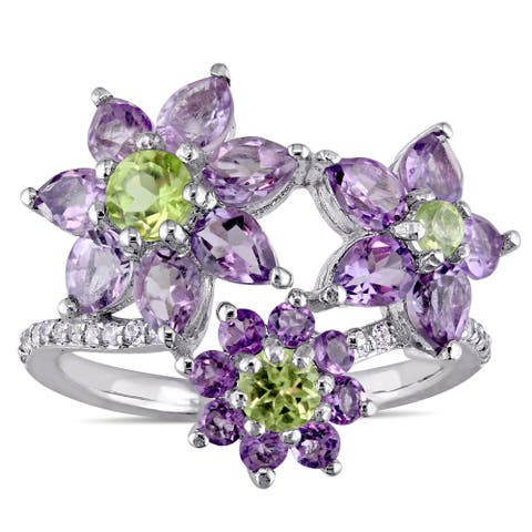 Laura Ashley Rose de France Amethyst Peridot and White Sapphire Triple Flower Ring in Sterling Silve - Green