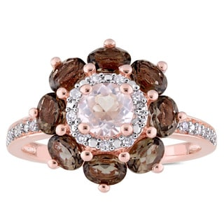 Laura Ashley Smokey and Rose Quartz with 1/10ct TDW Diamond Flower Ring in Rose Plated Sterling Silver (G-H,I1-I2)