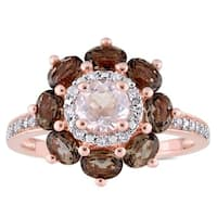 Laura Ashley Smokey and Rose Quartz with 1/10ct TDW Diamond Flower Ring in Rose Plated Sterling Silv
