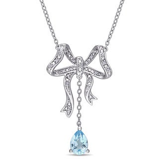 Laura Ashley Sky-Blue Topaz and 1/10ct TDW Diamond Bow Dangle Necklace in Sterling Silver (G-H,I1-I2)