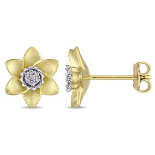 Laura Ashley White Sapphire Flower Stud Earrings in Two-Tone White and Yellow Plated Sterling Silver