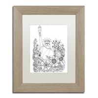 KCDoodleArt 'Flower Girls 8' Matted Framed Art - White