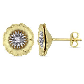 Laura Ashley Diamond Accent Flower Stud Earrings in Two-Tone White and Yellow Plated Sterling Silver (G-H,I1-I2)