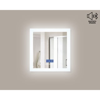 Encore BLU102 LED Illuminated Bathroom Mirror with Built-In Bluetooth Speaker - Silver