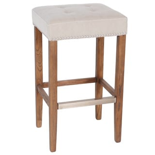Nashville Nailhead Trim Beige Canvas/Linen Oak Wood Barstool (30 inches)