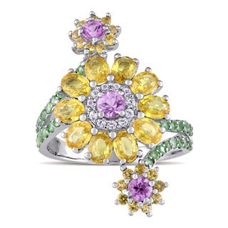 Laura Ashley Tsavorite Pink Yellow and White Sapphire Flower Bypass Ring in Sterling Silver