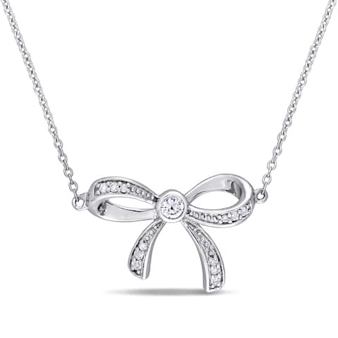 Laura Ashley White Sapphire and Diamond Accent Bow Necklace in 10k White Gold