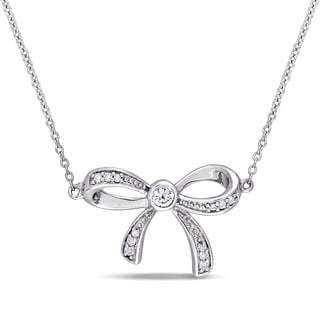 Laura Ashley White Sapphire and Diamond Accent Bow Necklace in 10k White Gold (G-H,I2-I3)