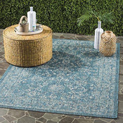"Safavieh Courtyard Aquata Scroll Indoor/ Outdoor Turquoise Rug - 2'7"" x 5'"