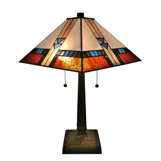 Amora Lighting 23-inch Square Tiffany-style Glass Mission Table Lamp