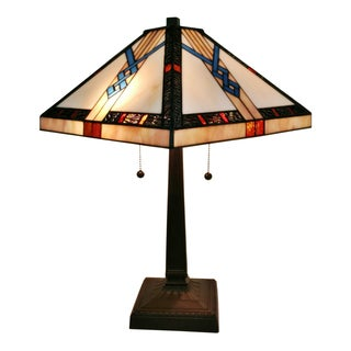 Amora Lighting 23-inch Square Tiffany-style Mission Table Lamp