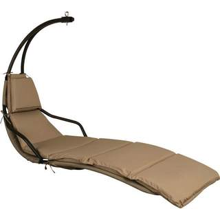 Club Fun Outdoor Beige Cushioned Steel Hanging Lounge Chair